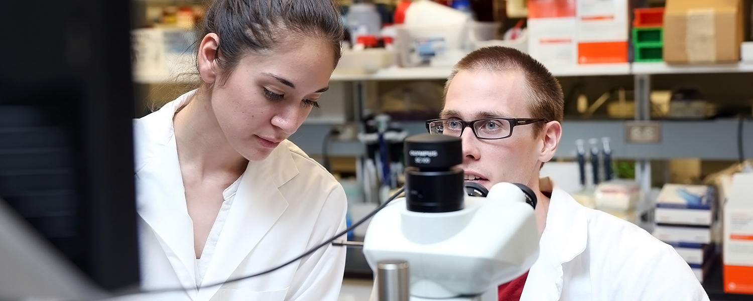 2 students by microscope in the Herzog lab